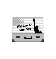Travel symbol for america with grey vintage vector