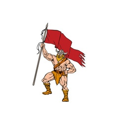 Viking Warrior Brandishing Red Flag Retro vector