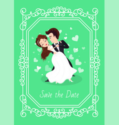 wedding card save day couple dancing love vector image