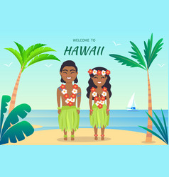 welcome to hawaii poster on vector image