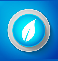 white leaf icon isolated on blue background vector image