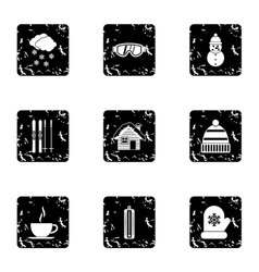 Winter holidays icons set grunge style vector