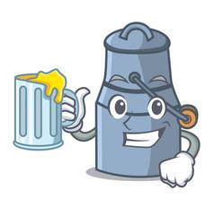 With juice milk can mascot cartoon vector