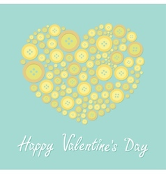 Yellow heart made from buttons Love card Flat vector