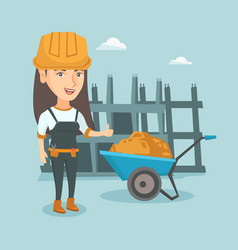 Young caucasian female builder giving thumb up vector