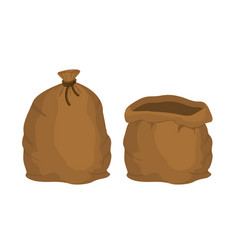 Big knotted sack full and empty brown textile bag vector