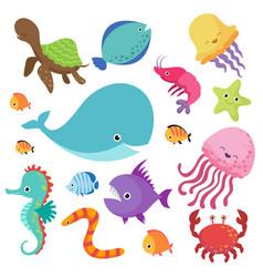 cartoon childrens aquarium and wild sea fishes vector image