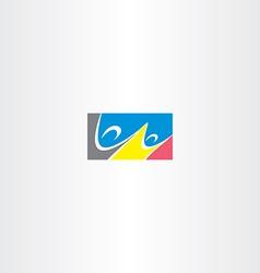 people dancing rectangle logo vector image vector image