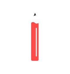 red simple pencil icon vector image