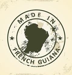 Stamp with map of French Guiana vector image