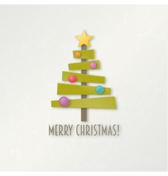 Abstract green Christmas tree with star and balls vector image vector image