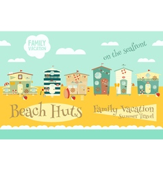Beach Huts on Seafront vector image vector image
