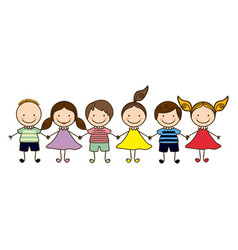 colorful front view group cartoon children vector image