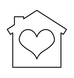 house with heart icon vector image vector image