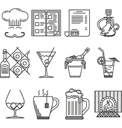 linear icons for restaurant vector image vector image