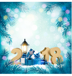 merry christmas background with 2018 and gift vector image vector image