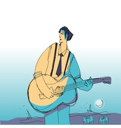 music man vith guitar vector image vector image