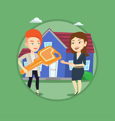 Real estate agent giving key to new house owner vector