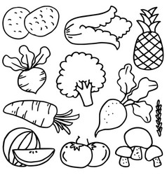Set of various vegetables doodles vector