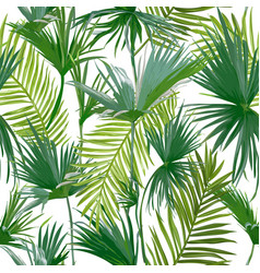 tropical palm leaves seamless floral pattern vector image vector image