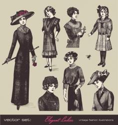 vector set elegant ladies vector image vector image