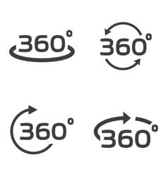 black 360 Degrees icons set vector image