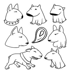 Dogs characters pitbull Funny animals cartoon vector image vector image