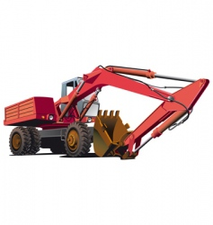 old-fashioned excavator vector image