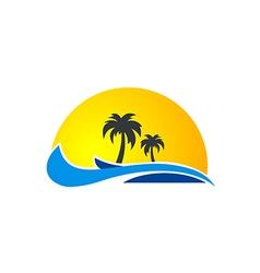 palm tree ocean wave beach tropic logo vector image