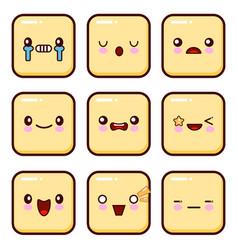 set of emoticons set of emoji isolated on white vector image