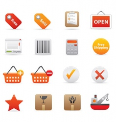 shopping icons red vector image vector image