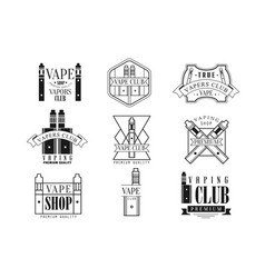 vape club black and white emblems vector image