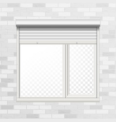 window with rolling shutters brick wall vector image
