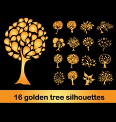16 golden tree silhouettes vector image vector image