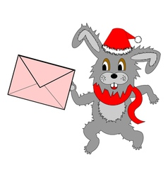 A funny Christmas hare running with a letter vector image