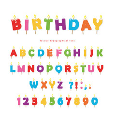 birthday candles colorful font design bright vector image