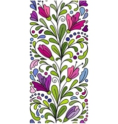 doodle flowers seamless border Zentangle vector image