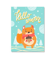 hello winter cute poster on vector image