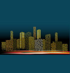 Modern cityscape in the evening city buildings vector