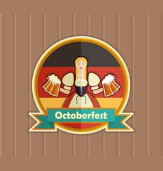pretty bavarian girl with beer oktoberfest label vector image