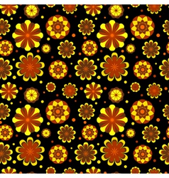 Seamless floral pattern with geometric flowers vector image vector image