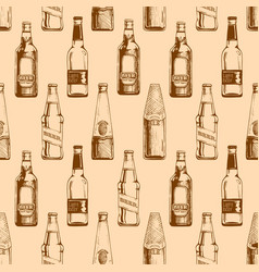 seamless pattern with different beer bottles vector image