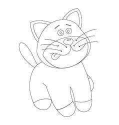 White cartoon cute kitten vector image