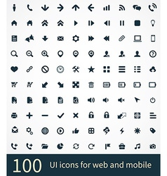 100 UI Outline Icons For Web and Mobile vector image