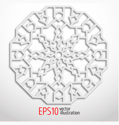 3d white geometric snowflake arabesque design vector image