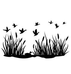 A flock wild ducks flying over a pond vector