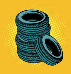 A stack of car tires vector