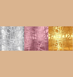 Abstract gold silver and rose gold lines vector