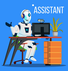 answerphone robot with headphones answering the vector image