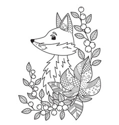autumn fox doodle coloring book page entangle vector image